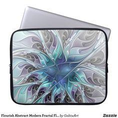 Flourish Abstract Modern Fractal Flower With Blue Computer Sleeve