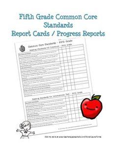 Fifth Grade Common Core Progress Report / Report Card. $3.00