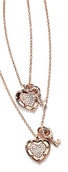 Return to Tiffany®️️ Love heart tag key pendants in 18k rose gold with diamonds.