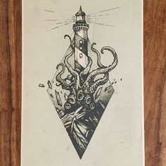 Action-packed #fantasy #penandink #drawing from @tomtomtatts of a lighthouse shining in the darkness despite its own impending doom at the many hands of a massive kraken.  I like how the shading and texture of the octopus' skin transitions from inky black with a few light spots into light with a few stippling dark spots and how the stippling technique also can be used to apply age and texture to the lighthouse's facade... not that the lighthouse is long for this world... The smashing…