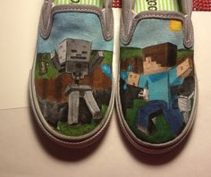 Minecraft shoes Minecraft Shoes, Minecraft Crafts, Decorated Shoes, Unique Shoes, Painted Shoes, Custom Shoes, Creepers, Birthday Presents, Diy And Crafts