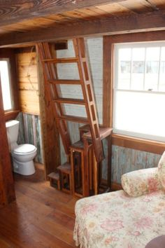 """This is my creation called the ladder/stair which condenses the floor space required to a 16"""" x 32"""" footprint.  Plans for this are available on the Puresalvageliving.com store site."""