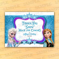 FROZEN Thank you Card, Birthday Invitation, Elsa, Anna, Olaf, Frozen Birthday, Printable, PartyInstant, Custom Thank You Card