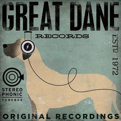 GREAT DANE records album style graphic artwork on canvas original illustration 12 x 12 by geministudio on Etsy, $79.00