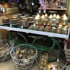 Lots of brass/ bronze ship and outdoor lights @StoneAgeAntiques