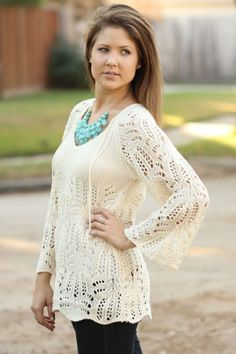 Crochet Sweater - Tops - Clothing