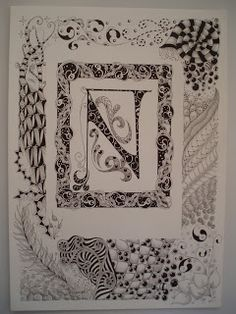 Jane Monk Studio - Longarm Machine Quilting & Teaching the Art of Zentangle®: Decorated Zentangle Inspired Letters