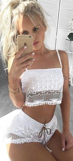 #summer #hildeosland #outfits | White Lace Two Piece Set