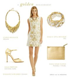 An engagement party dress for the bride in white and gold with gold accessories.