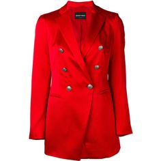 Emporio Armani double breasted blazer ($827) ❤ liked on Polyvore featuring outerwear, jackets, blazers, red, double breasted jacket, emporio armani jacket, double breasted blazer, red blazers and blazer jacket