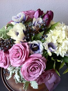 lavender, pale and grey blue, ivory, green, plum