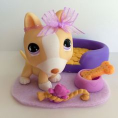 Littlest Pet Shop Cream & White Bull Terrier #860 w/Dog Bed & Accessories #Hasbro