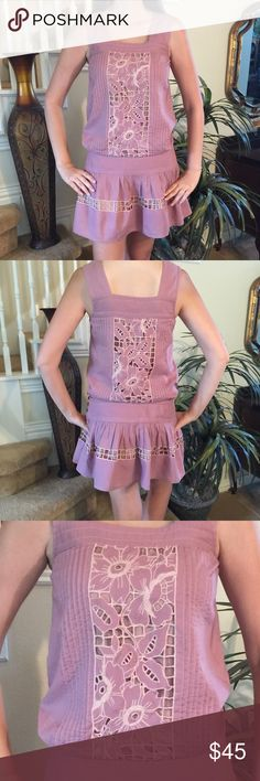 Tracy Reese lace dress This Tracy Reese is adorable and features beautiful peekaboo lace insets with nude lining, kick pleated skirt, banded waist, in a beautiful mauve color and in fabulous condition. Love this one Tracy Reese Dresses