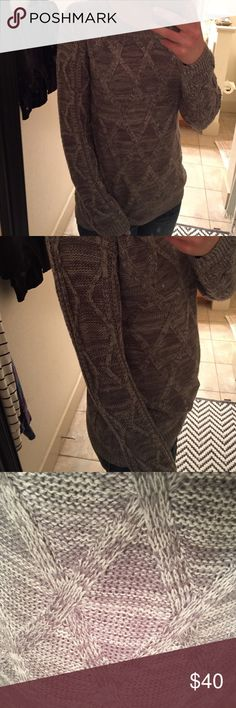 Grey crew neck sweater NWOT sweater triangle patterned grey sweater from The Limited, fits small/medium comfortably with room The Limited Sweaters Crew & Scoop Necks
