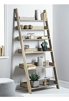 Rustic Wooden Ladder Shelf - Wide - Storage - Furniture