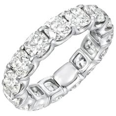 JB Star 6.40 Carat Platinum Ladies Cushion Cut Eternity Band | From a unique collection of vintage band rings at https://www.1stdibs.com/jewelry/rings/band-rings/