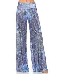 Look at this #zulilyfind! Blue Paisley Palazzo Pants #zulilyfinds