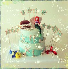 Butik pasta- deniz kizi dogum gunu pastasi-mermaid -girl-iyiki dogdun-seker hamuru- birthday cake-parti-party