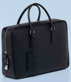 Prada mens saffiano calf leather briefcase