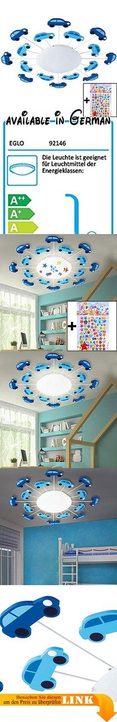 Decken Leuchte Jungen Kinder Zimmer Beleuchtung Auto Wand Lampe Blau Im Set  Inkl. Sternchen Sticker