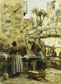 The Washerwomen Canvas Print / Canvas Art by Peder Monsted