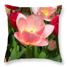 "#Tulip Among Friends Throw #Pillow 14"" x 14"""