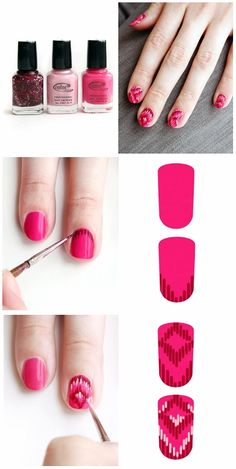 Ikat Nails - now that I have a set of nail art brushes, I might have to try this.