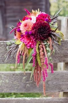 Love this bouquet with dahlias, cockscomb and amaranthus.
