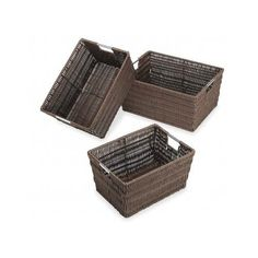 Storage Baskets Set Woven Plastic Home Closet Office Bin Box Organizer Container…