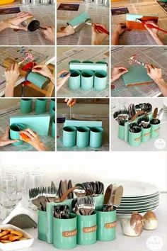 25 Projects to Show off Your Amazing DIY Skills - DIY kitchen utensil holder - Diy & Crafts Ideas Magazine Tin Can Crafts, Fun Diy Crafts, Arts And Crafts, Soup Can Crafts, Diy Crafts On A Budget, Wooden Crafts, Summer Crafts, Cutlery Storage, Cutlery Holder