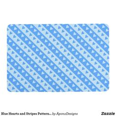 Blue Hearts and Stripes Pattern Floor Mat Blue Hearts, Blue Gift, Floor Patterns, Floor Mats, Shades Of Blue, Beach Mat, Personalized Gifts, Create Your Own, Outdoor Blanket