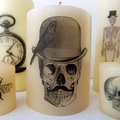 SewforSoul: Halloween DIY Printed Candles - Love the Steampunk Skeletons and they look so easy to make! SewforSoul: Halloween DIY Printed Candles - Love the Steampunk Skeletons and they look so easy to make! Halloween Birthday, Holidays Halloween, Fall Halloween, Halloween Crafts, Gothic Halloween, Halloween 2019, Halloween Stuff, Halloween Costumes, Diy Halloween Dekoration