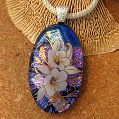Dichroic Floral Pendant Fused Glass Pendant Decal by GlassMystique, $28.00