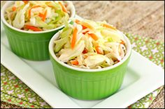 Hungry Girl's Sunomono Slaw--bagged coleslaw mix tossed with seasoned rice vinegar (refrigerate overnight)