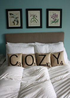 cozy scrabble pillows