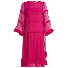 No. 21 Tiered silk-chiffon dress ($1,232) ❤ liked on Polyvore featuring dresses, dark pink, slip dresses, pink frilly dress, pink ruffle dress, ruffle dress and flutter-sleeve dress