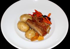 Tomi's twice cooked Pork Belly served with Gourmet Potatoes, Julienne Vegetables and Apple Cider Jelly Twice Cooked Pork, Pork Belly, Main Meals, Apple Cider, Jelly, Toast, Potatoes, Restaurant, Gourmet