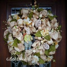 BUNNY PRINTED BURLAP Easter Wreath by decoglitz on Etsy
