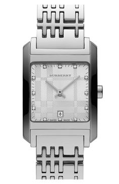 Burberry Ladies' Square Case Diamond Dial Watch available at #Nordstrom