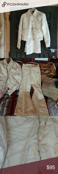 """Vintage 1960-70's Martin Bernard patchwork suit Vintage from the back of my husband's closet. This is a Martin Bernard suit with bell bottom style pants. It is dusty and has some stains that look like they can be removed, slight musty sent as well. It says dry clean for best results so I will put the price a little lower than the blue suit. I prefer not to try to clean but leave """"as is and original"""" so buyer gets a genuine untouched article, just as it was put away at the time. Jacket tag…"""