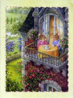 """Sweet Hummingbird Lane"" :: Susan Wheeler Cards"" :: Happy Birthday"" Two special friends sharing Tea on the balcony surrounded by blooming roses & chatting away. The inside of the card reads: ""Many people pass through our lives ~ but few stay in our hearts as you've stayed in mine. Happy Birthday my friend"""