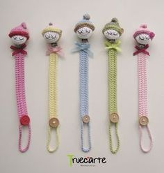 These are absolutely adorable Crochet Baby Toys, Crochet For Kids, Baby Knitting, Knit Crochet, Crochet Pacifier Holder, Knitting Patterns, Crochet Patterns, Pencil Toppers, Crochet Bookmarks