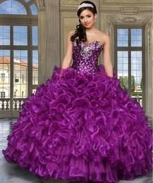 Regency Eggplant Sweetheart Quinceanera Dresses Crystals Beads Sequins Tiered Ruffles Lace-up Back Closure Vestido De Festa Plus Size