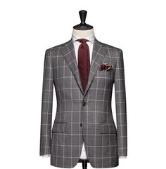 Tailored 2-Piece Suit – Fabric 4630 Windowpane Sharkskin Grey Cloth weight: 270g Composition: 100% Wool Super 150's