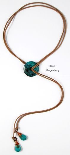 Diy Jewelry Southwestern Lariat Necklace - tutorial by Rena Klingenberg - Free jewelry tutorials, plus a friendly community sharing creative ideas for making and selling jewelry. Collier Lariat, Lariat Necklace, Leather Necklace, Leather Jewelry, Wire Jewelry, Boho Jewelry, Jewelry Crafts, Beaded Jewelry, Jewelery