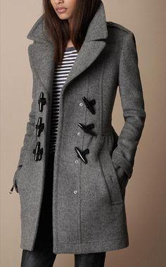Horn button Women Winter Long Dress Coat Fashion Long Jacket Grey Black HM095