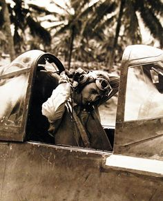 Marine Attack Squadron Two Hundred and Fourteen - VMF 214 (Black Sheep Squadron) on Turtle Bay Fighter Strip, Espiritu Santo, New Hebrides, September 11, 1943. First Lieutenant Kenneth A. Walsh in an F4U. Walsh later received the Medal of Honor for his actions in the Solomon Islands area August 15 – 30, 1943. U.S. Navy photograph, now in the collections of the National Archives.