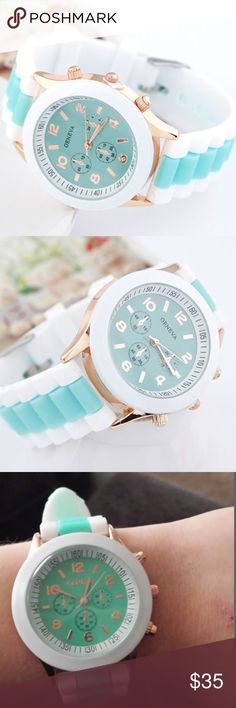"""Round Dial  With Silicone Strap Green Watch, Mint Case Material: Alloy Case Diameter: 3.8cm/1.50"""", Strap Length : 23.5cm/9.25"""", Strap Material: Silicone. Weight: 80g. Geneva Platinum Accessories Watches"""