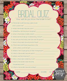 Fiesta Floral Bridal Quiz Bridal Shower & Wedding Game INSTANT DOWNLOAD by HTBHandmade