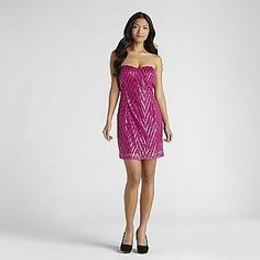 Trixxi Junior's Sequin Mesh Sweetheart Dress